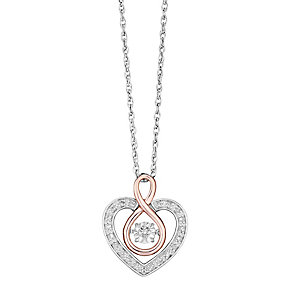 Diamonds in Rhythm Silver & Rose Gold Infinity Heart Pendant - Product number 3624145