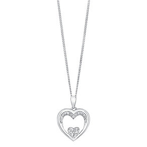 Sterling Silver 1/6 Carat Diamond Double Heart Pendant - Product number 3624226