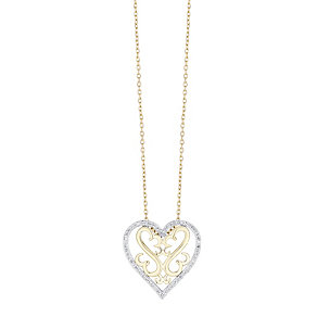 Open Hearts Silver & 9ct gold diamond pendant - Product number 3624412