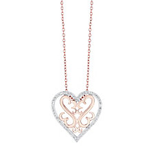 Open Hearts Silver & 9ct rose gold diamond pendant - Product number 3624463