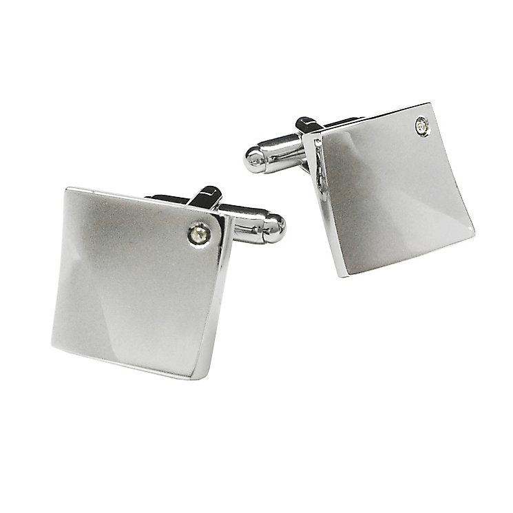 Rhodium Plated Diamond Set Square Cufflinks - Product number 3625788