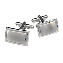 Brushed & Polished Sapphire Set Rectangular Cufflinks - Product number 3625796