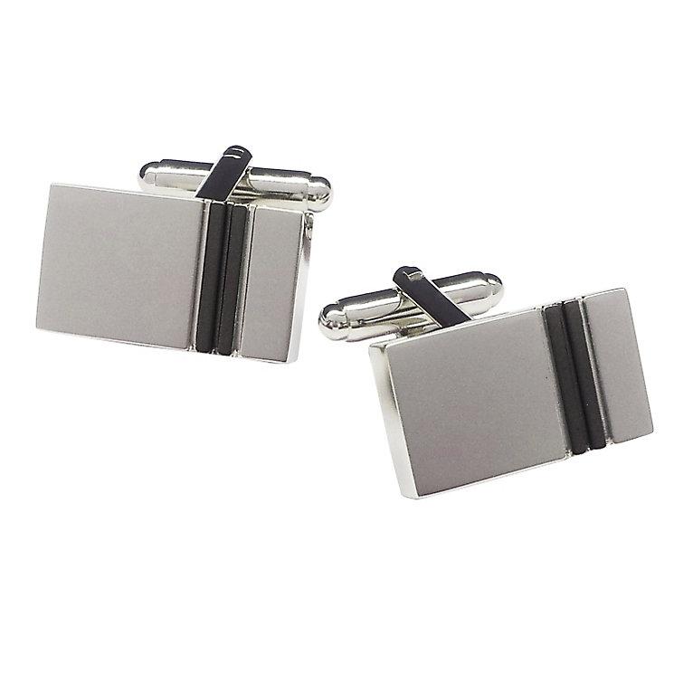 Rectangular Silver Tone Gunmetal Grey Stripe Cufflinks - Product number 3626040