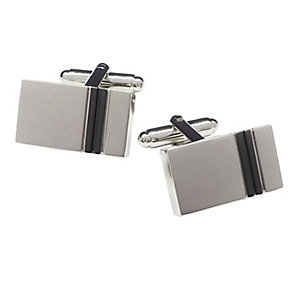 Rectangular Silver Tone Gunmetal Grey Stripe Cufflinks - Product number 3626040