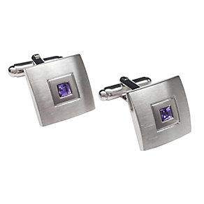 Square Brushed & Polished Tanzanite Crystal Cufflinks - Product number 3626067