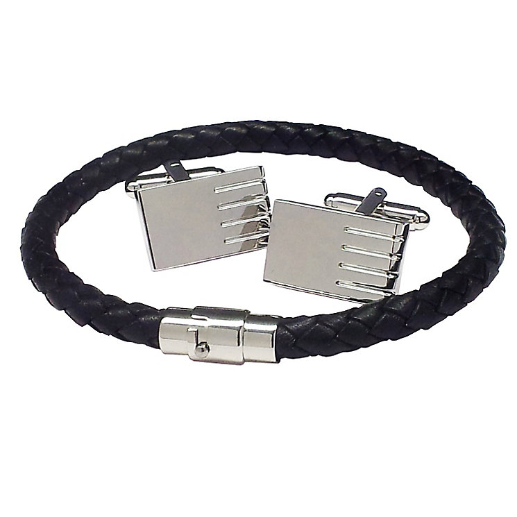 Black & Silver Tones Bracelet & Cufflink Set - Product number 3626903