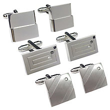 Silver Toned Three Piece Cufflinks Set - Product number 3626938