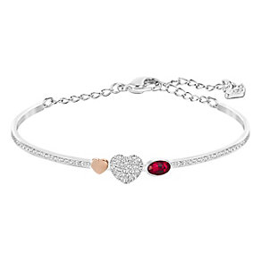 Swarovski Duo siam & white crystal heart bangle - Product number 3628620