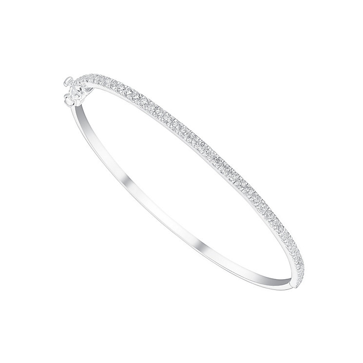 Sterling Silver Stone Set Hinged Bangle - Product number 3629031