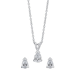 Silver & Cubic Zirconia Teardrop Earring & Pendant Set - Product number 3629058
