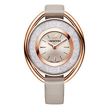 Swarovski Crystalline ladies' oval pink leather strap watch - Product number 3629430