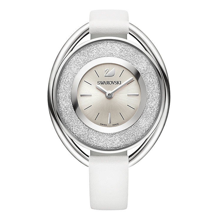 Swarovski Crystalline ladies' oval white leather strap watch - Product number 3629457