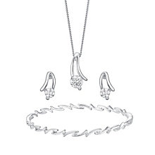 Silver & Cubic Zirconia Earrings Necklace & Bracelet Set - Product number 3629465