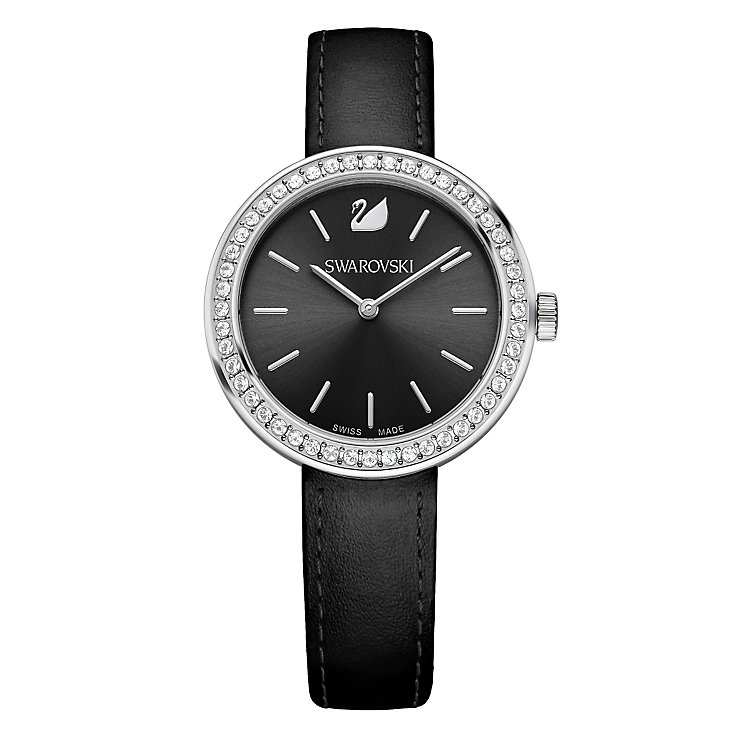 Swarovski Daytime ladies' crystal black leather strap watch - Product number 3629473