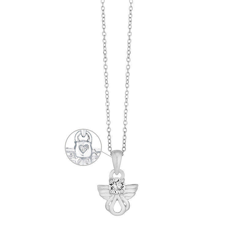 """Children's Sterling Silver Crystal Angel Pendant 14"""" - Product number 3630382"""