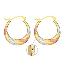 Together Bonded Silver & 9ct Gold Creole Earrings - Product number 3630390