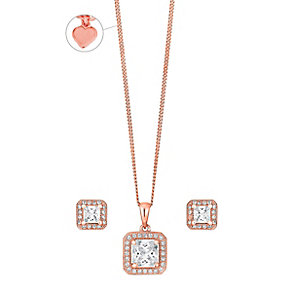 Rose Gold-Plated Cubic Zirconia Halo Pendant & Stud Earrings - Product number 3630625