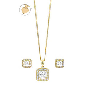 Gold-Plated Cubic Zirconia Halo Pendant & Stud Earrings - Product number 3630641