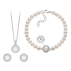 Sterling Silver Pearl Cubic Zirconia Pendant & Stud Earrings - Product number 3630676