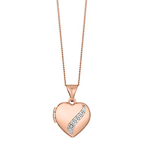 "9ct Rose Gold Diamond Set Heart Locket With 18"" Chain - Product number 3630684"