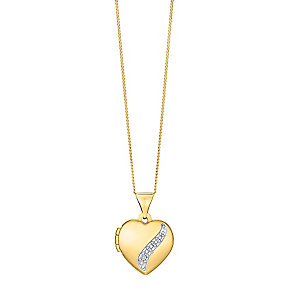 "9ct Gold Diamond Set Heart Locket With 18"" Chain - Product number 3630706"