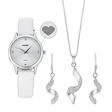 Evoke Ladies' Strap Watch, Crystal Pendant & Drop Earrings - Product number 3630714