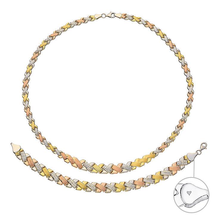 Together Bonded Silver & 9ct Gold Necklace & Bracelet Set - Product number 3630722