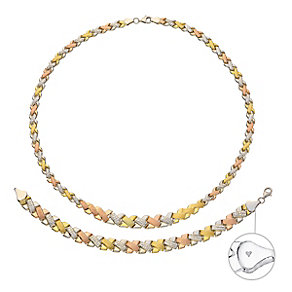 Together Bonded Silver & 9ct Gold Necklace & Bracelet Set - Product number 3630722