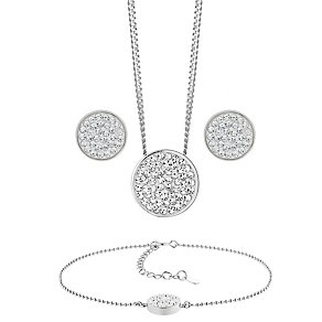 Evoke Silver Rhodium-Plated Pendant, Bracelet & Stud Earring - Product number 3630749