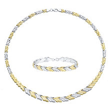 Together Bonded Silver & 9ct Gold Necklace and Bracelet Set - Product number 3630803