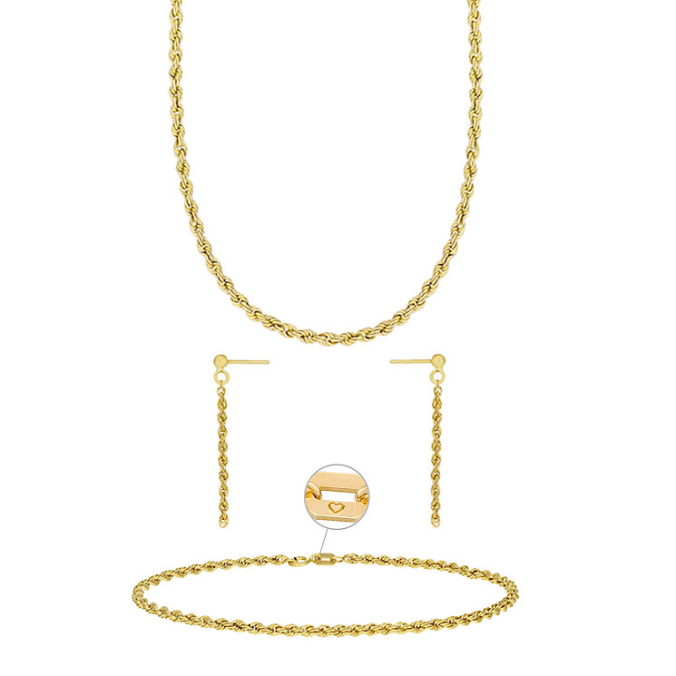 "9ct Gold 18"" Rope Necklace, 7.25"" Bracelet & Drop Earrings - Product number 3630846"