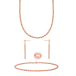 "9ct Rose Gold 18"" Necklace, 7.25"" Bracelet & Drop Earrings - Product number 3630854"