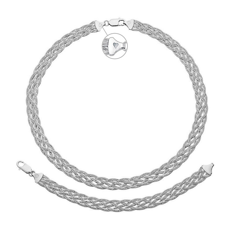 Silver Rhodium-Plated Herringbone Necklace & Bracelet Set - Product number 3630862