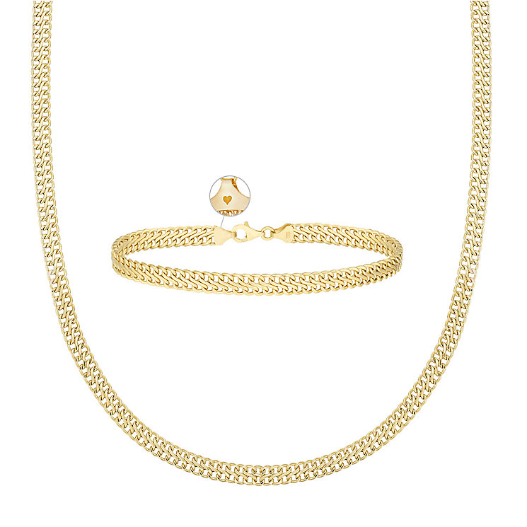"9ct Gold Figure Of 8 17"" Necklace & 7.25"" Bracelet Set - Product number 3630935"