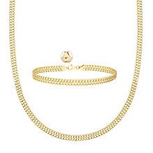"9ct Gold Figure Of 8 17"" Necklace & 7.25"" Bracelet Set - Product number 3630935"