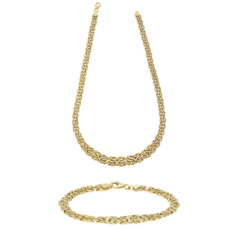 "9ct Gold 17"" Fancy Twisted Necklace & 7.5"" Bracelet Set - Product number 3631214"