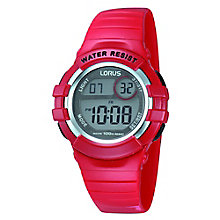 Lorus Children's Digital Display Red Rubber Strap Watch - Product number 3631532
