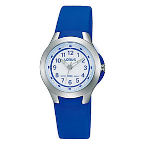 Lorus Children's White Dial Blue Rubber Strap Watch - Product number 3631575
