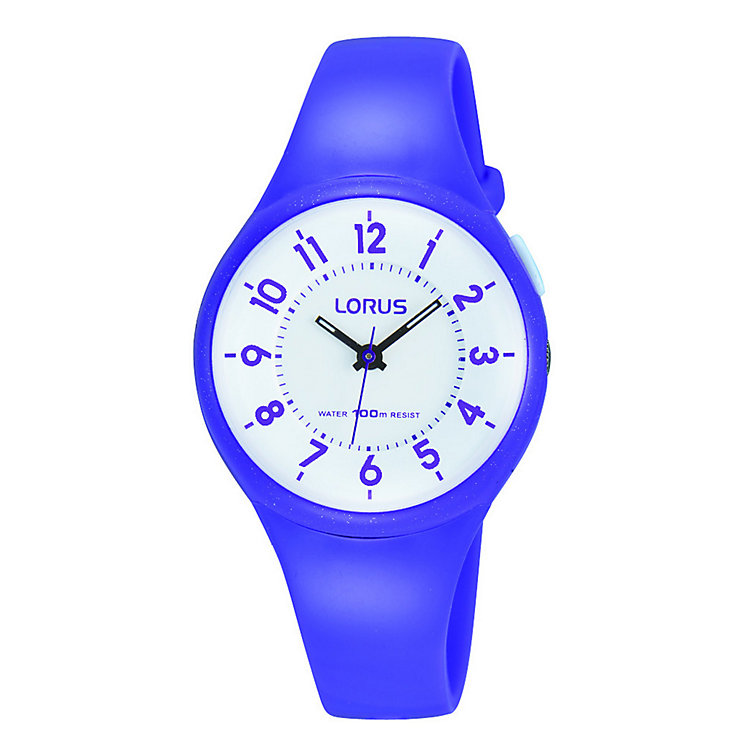 Lorus Children's White Dial Purple Rubber Strap Watch - Product number 3631796