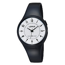 Lorus Children's White Dial Black Rubber Strap Watch - Product number 3631818