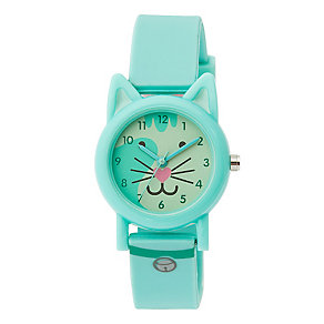 Tikkers Children's Cat Dial Turquoise Silicone Strap Watch - Product number 3631834