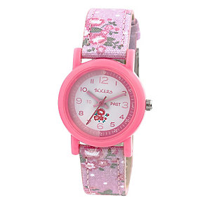 Tikkers Children's Pink Floral Canvas Strap Watch - Product number 3631850