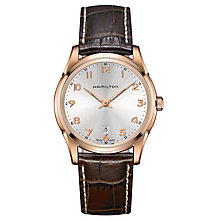 Hamilton Jazzmaster men's rose gold-plated brown strap watch - Product number 3631966
