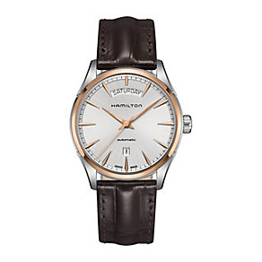 Hamilton Jazzmaster men's rose gold-plated strap watch - Product number 3632326