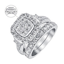 Perfect Fit 9ct White Gold 1.75 Carat Diamond Bridal Set - Product number 3637123