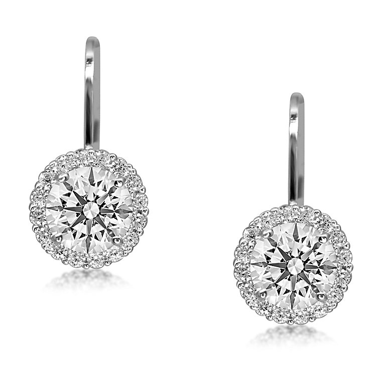 Carat* sterling silver brilliant border drop earrings - Product number 3638499