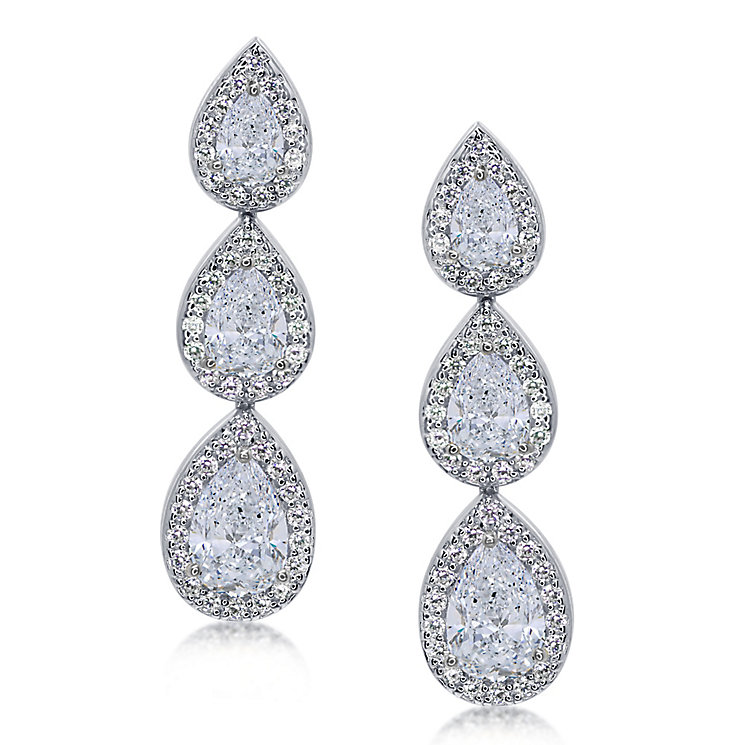 Carat* sterling silver pear border stone set drop earrings - Product number 3638588