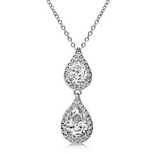 Carat* sterling silver pear border stone set pendant - Product number 3638596