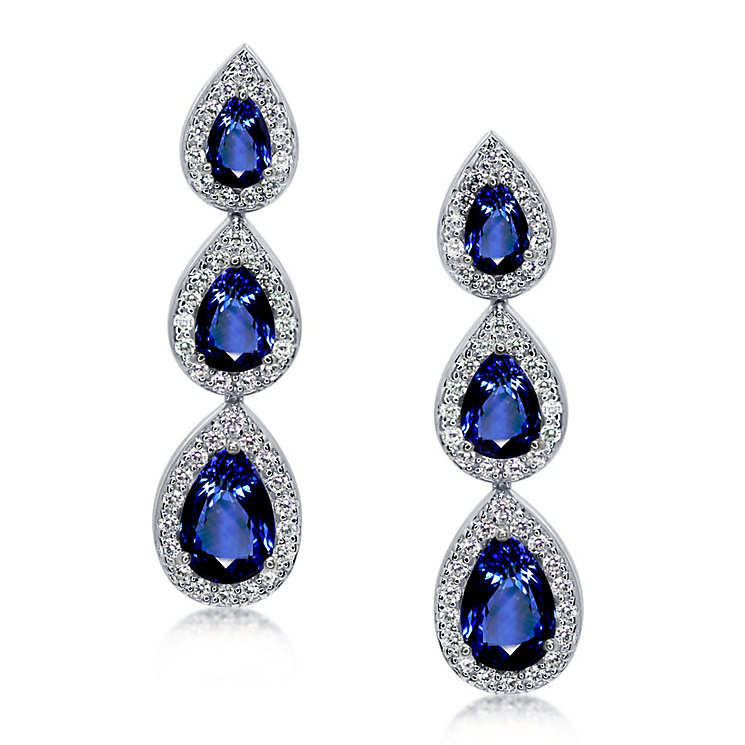 Carat* sterling silver pear border stone set drop earrings - Product number 3638618