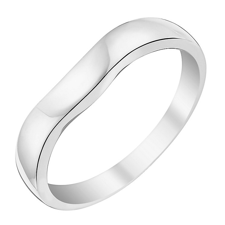 9ct White Gold Shaped Wedding Band - Product number 3642615